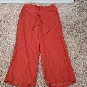 Loft wide leg burnt orange Sz M silk pants